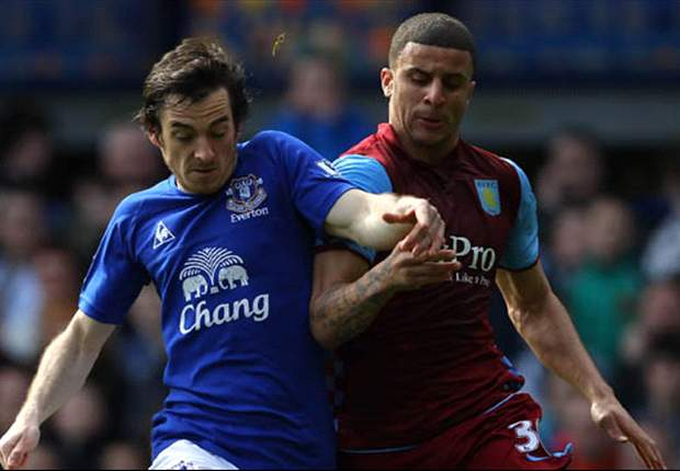 Everton 2-2 Aston Villa: Baines saves the day for Toffees after Bent brace but controversy surrounds game after disallowed Beckford goal