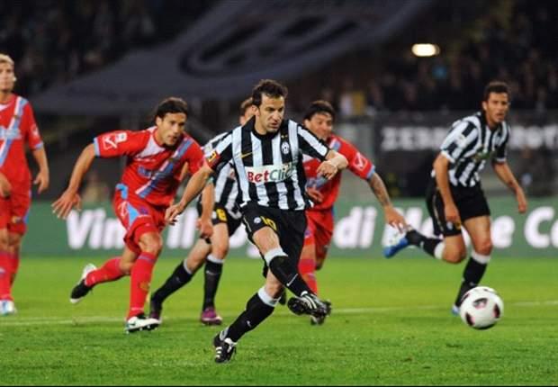Juventus-Catania 2-2: La doppietta di Del Piero non basta, Gomez e Lodi ammutoliscono l'Olimpico