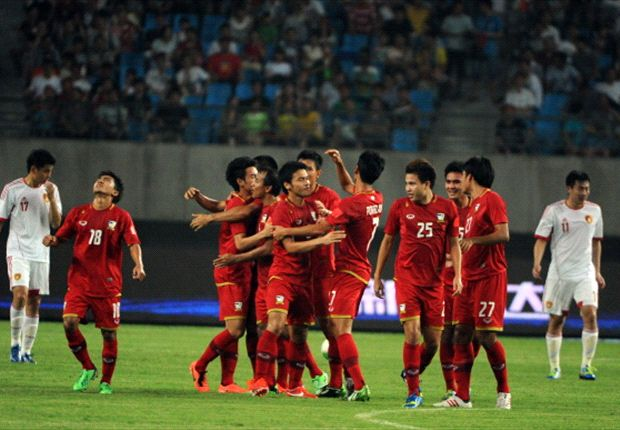 Thailand players celebrate during their 5-1 thrashing of China