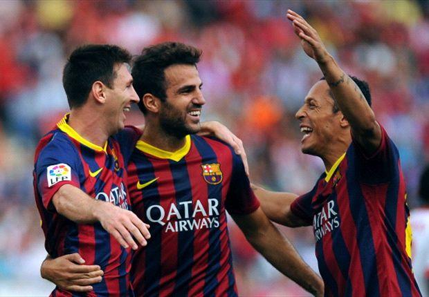Die Barca-Stars feiern den zweiten Streich