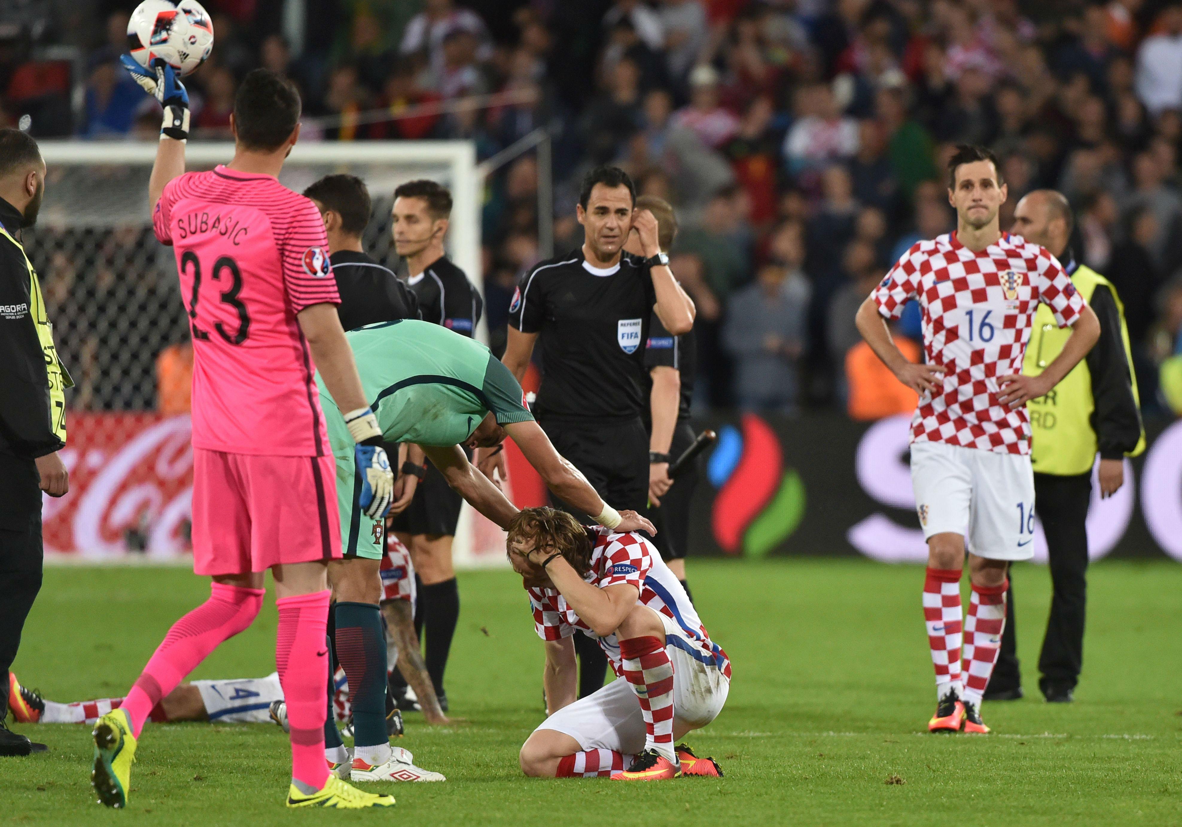 dbbe6a69429 Cristiano Ronaldo   Pepe console Luka Modric after Portugal dump Croatia  out of Euro 2016