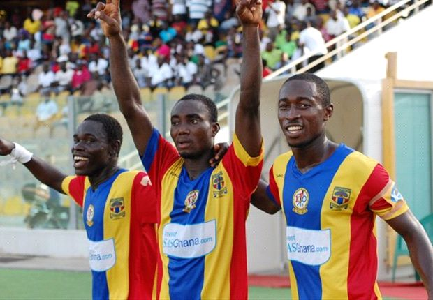 Owusu Bempah celebrates with Hearts of Oak mates