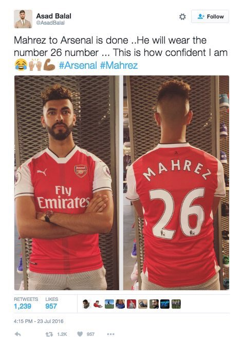 b7a6dce8c Arsenal fan shows off his new Mahrez shirt