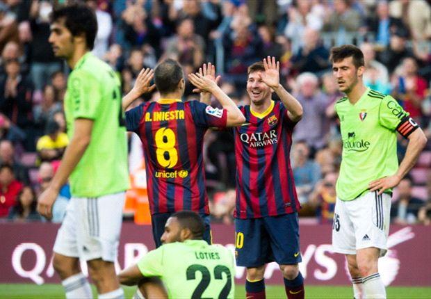 Barcelona 7-0 Osasuna: Record-breaking Messi bags hat-trick as Catalans run riot