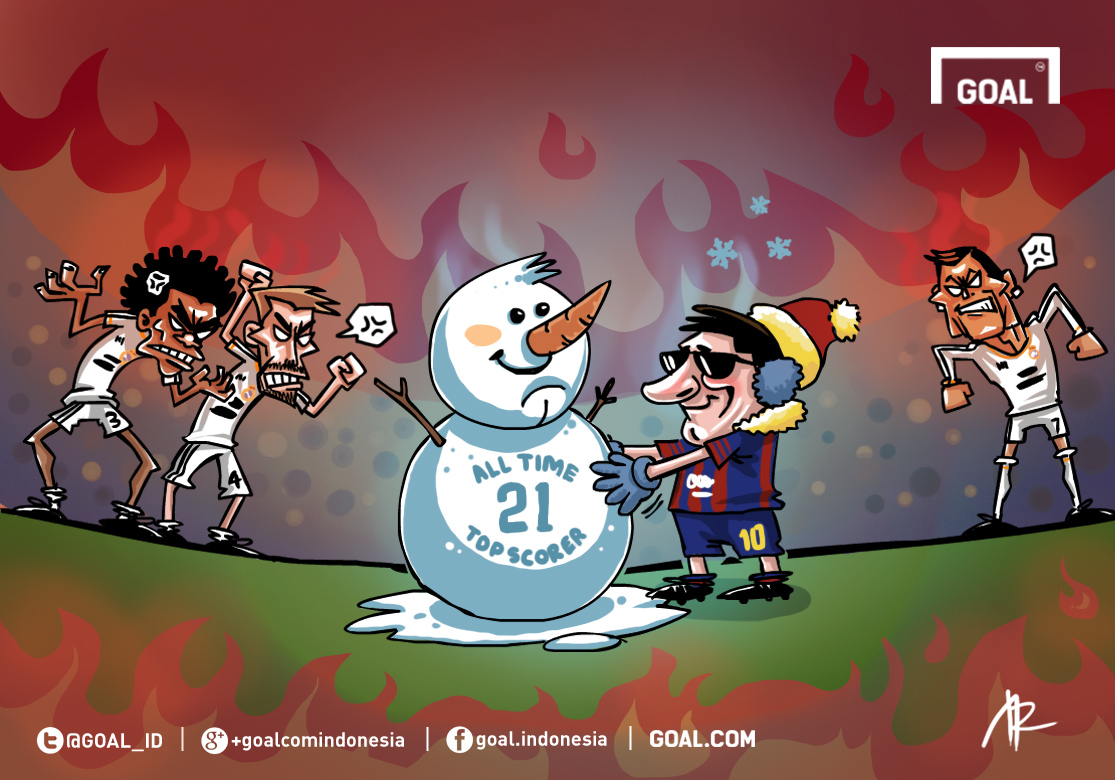 GALERI Kartun Goal Indonesia El Clasico Milik Lionel Messi