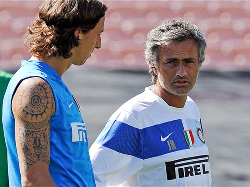 Zlatan Ibrahimovic y José Mourinho, en su etapa en el Inter de Milán.