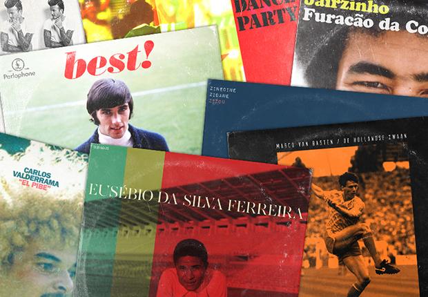 Tapas de discos con futbolistas