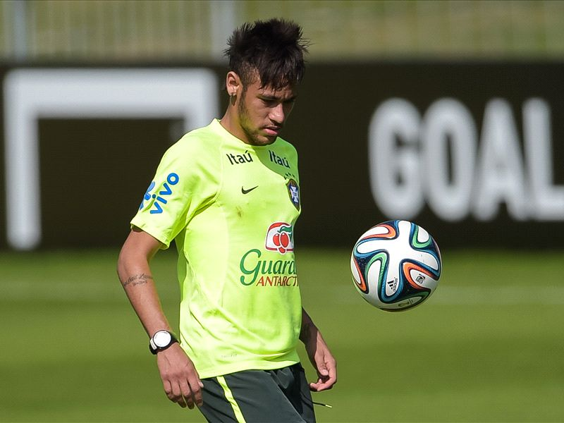 Neymar scores a sublime wrong-foot penalty in Brazil training