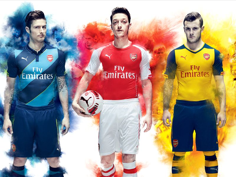 855e92fc3 Spectacular events on the River Thames and at PUMA's Carnaby Street store  were held to unveil three new shirts as part of Arsenal's new kit  partnership