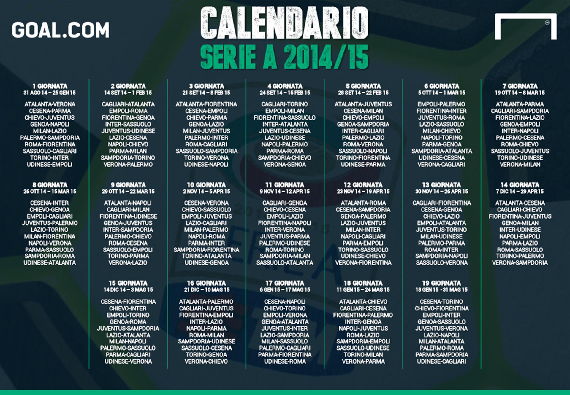 Calendario Serie A 1 Giornata.Calendario Serie A 2014 2015 Goal Com