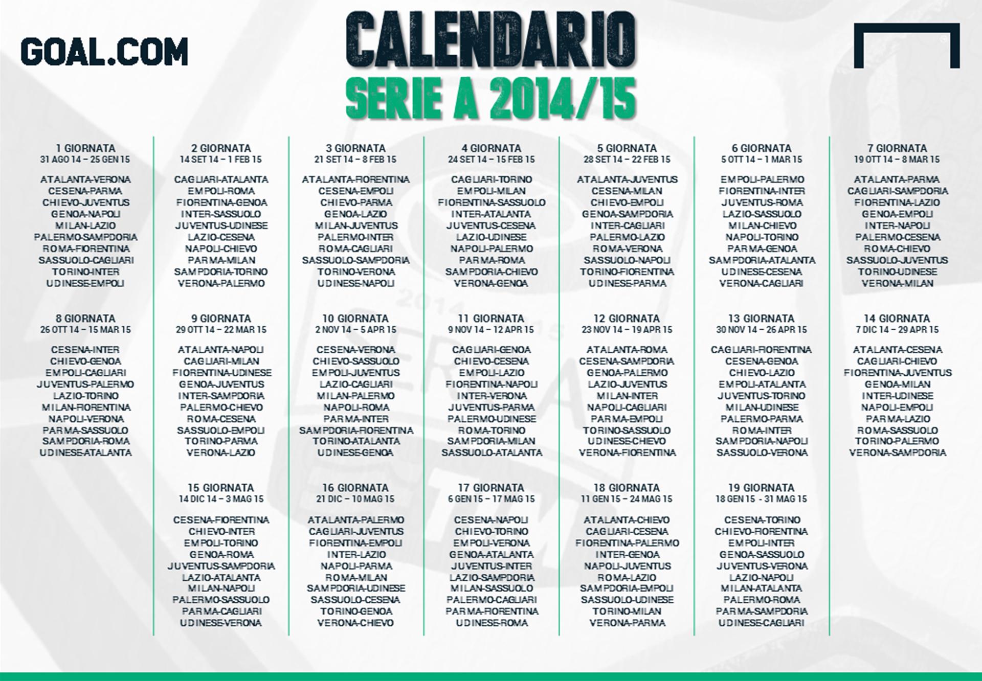 Serie A Calendario 6 Giornata.Calendario Serie A 2014 2015 Goal Com